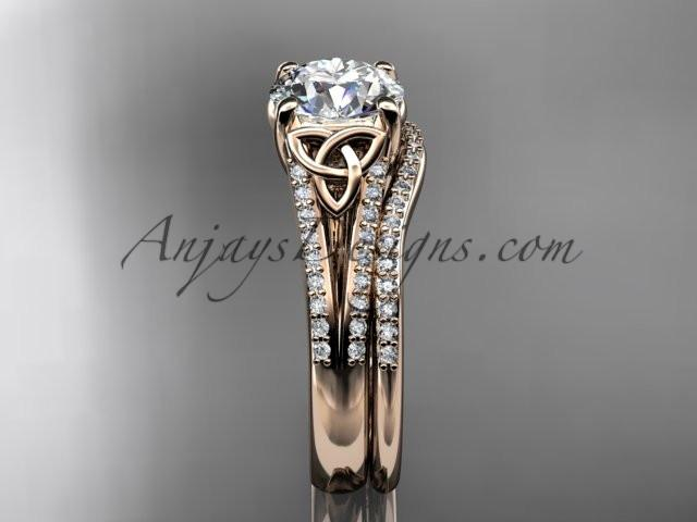 14kt rose gold celtic trinity knot engagement ring ,diamond wedding ring, engagment set CT7108S - AnjaysDesigns