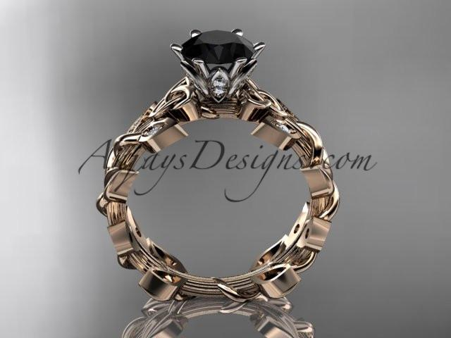 14kt rose gold diamond celtic trinity knot wedding ring, bridal ring with a Black Diamond center stone CT7124 - AnjaysDesigns