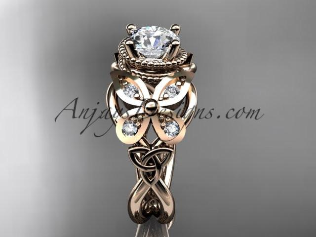 14kt rose gold diamond celtic trinity knot wedding ring,butterfly engagement ring CT7136 - AnjaysDesigns