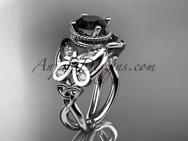 platinum diamond celtic trinity knot wedding ring,butterfly engagement ring with a Black Diamond center stone CT7136 - AnjaysDesigns