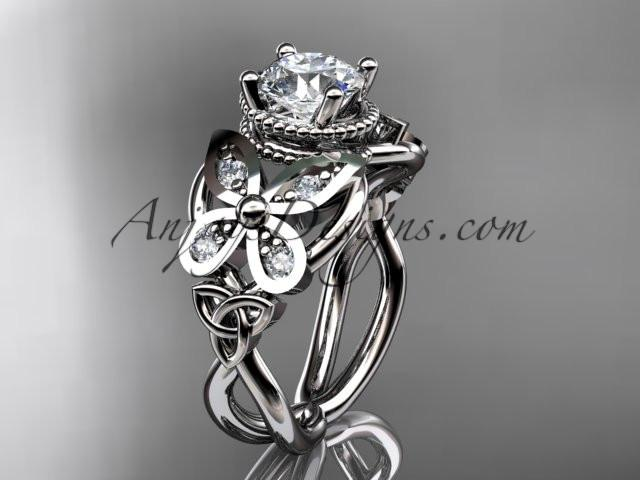 "platinum diamond celtic trinity knot wedding ring,butterfly engagement ring with a ""Forever One"" Moissanite center stone CT7136 - AnjaysDesigns"