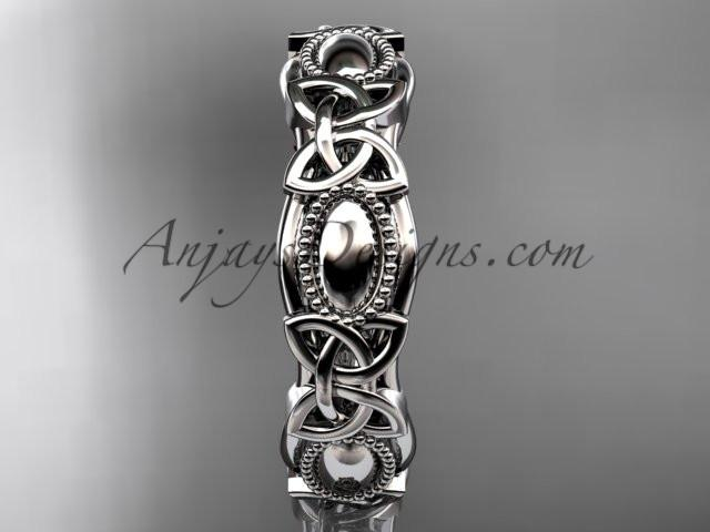 platinum celtic trinity knot wedding band, engagement ring CT7152G - AnjaysDesigns