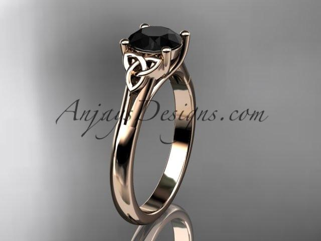 14kt rose gold celtic trinity knot wedding ring with a Black Diamond center stone CT7154 - AnjaysDesigns
