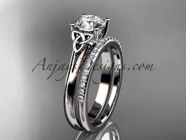 "platinum diamond celtic trinity knot wedding ring, engagement set with a ""Forever One"" Moissanite center stone CT7154S - AnjaysDesigns"