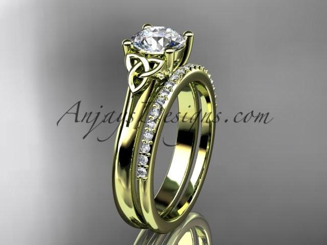 "14kt yellow gold diamond celtic trinity knot wedding ring, engagement set with a ""Forever One"" Moissanite center stone CT7154S - AnjaysDesigns"