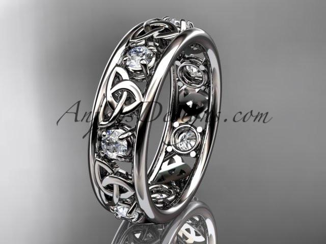 14kt white gold celtic trinity knot wedding band, engagement ring CT7160B - AnjaysDesigns