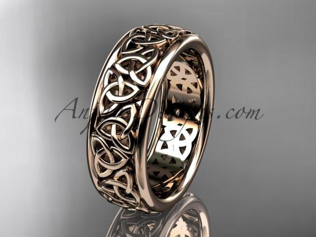 14kt rose gold celtic trinity knot wedding band, engagement ring CT7163G - AnjaysDesigns