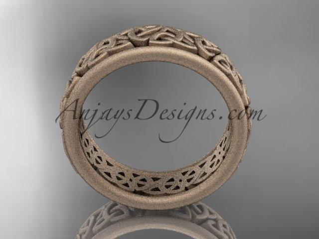 14kt rose gold celtic trinity knot wedding band, matte finish wedding band, engagement ring CT7163G - AnjaysDesigns