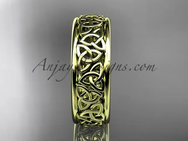 14kt yellow gold celtic trinity knot wedding band, engagement ring CT7163G - AnjaysDesigns