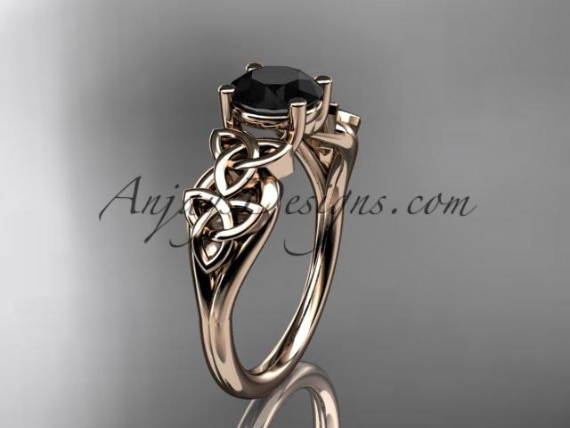 14kt rose gold celtic trinity knot wedding ring, engagement ring with a Black Diamond center stone CT7169 - AnjaysDesigns