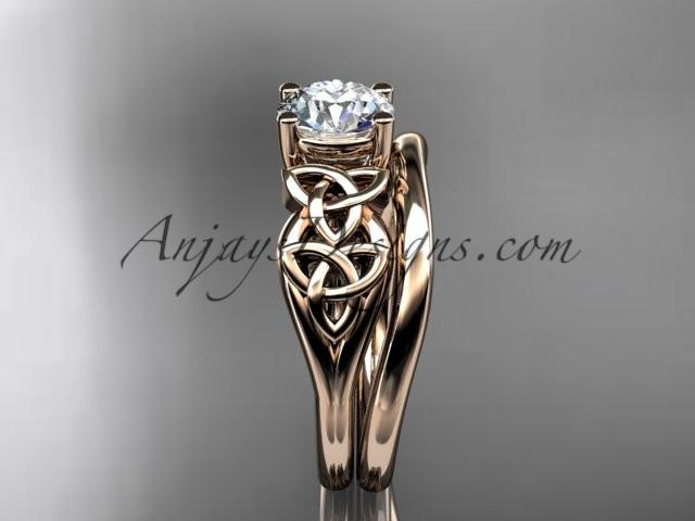 "14kt rose gold celtic trinity knot wedding ring, engagement set with a ""Forever One"" Moissanite center stone CT7169S - AnjaysDesigns"