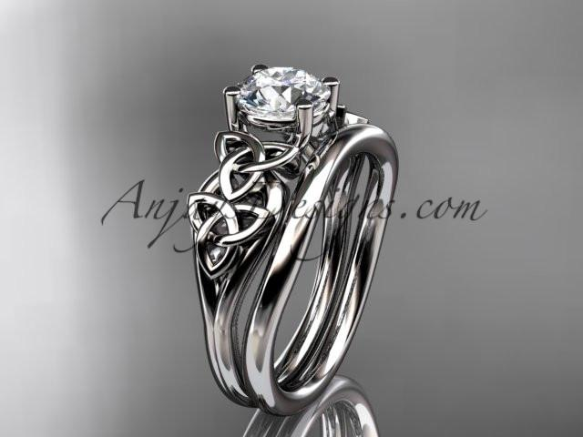 "platinum celtic trinity knot wedding ring, engagement set with a ""Forever One"" Moissanite center stone CT7169S - AnjaysDesigns"