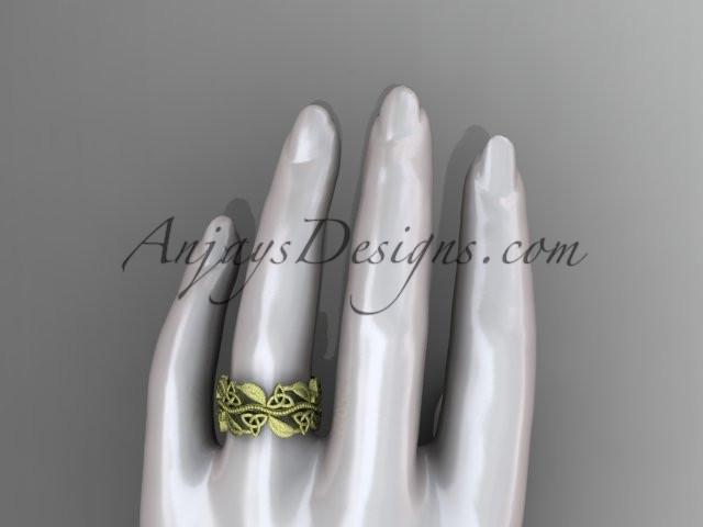14kt yellow gold celtic trinity knot wedding band, matte finish wedding band, engagement ring CT7188G - AnjaysDesigns