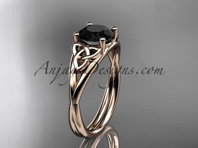 14kt rose gold celtic trinity knot wedding ring, engagement ring with a Black Diamond center stone CT7189 - AnjaysDesigns