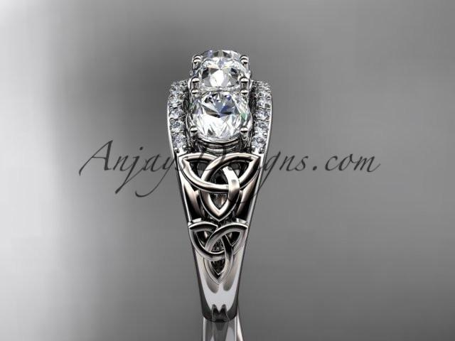platinum diamond celtic trinity knot wedding ring, three stone engagement ring CT7203 - AnjaysDesigns