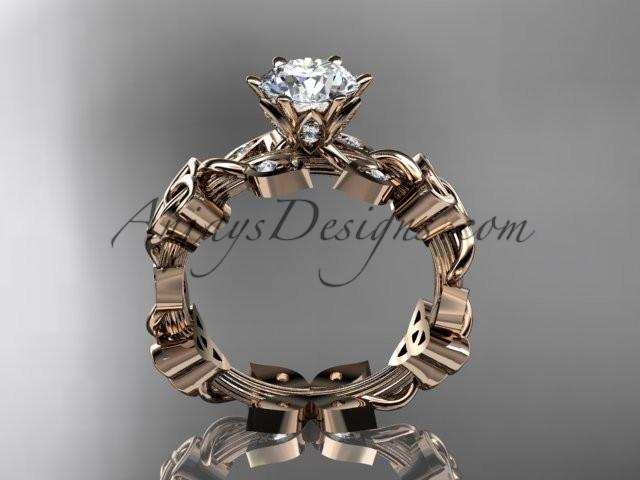 14kt rose gold diamond celtic trinity knot wedding ring, engagement ring CT7209 - AnjaysDesigns