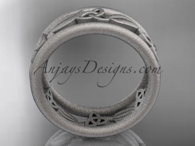 14kt white gold celtic trinity knot wedding band, matte finish wedding band, engagement ring CT7233G - AnjaysDesigns