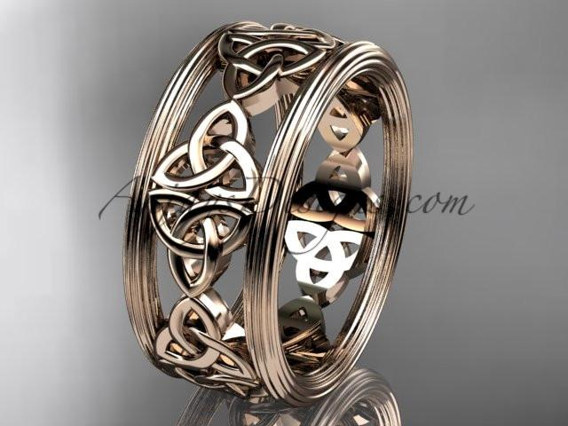 14kt rose gold celtic trinity knot wedding band, engagement ring CT7236G - AnjaysDesigns