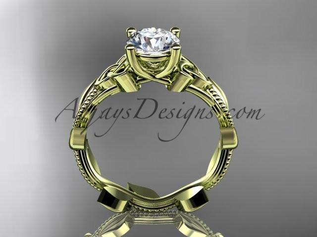 14kt yellow gold celtic trinity knot wedding ring, engagement ring CT7238 - AnjaysDesigns