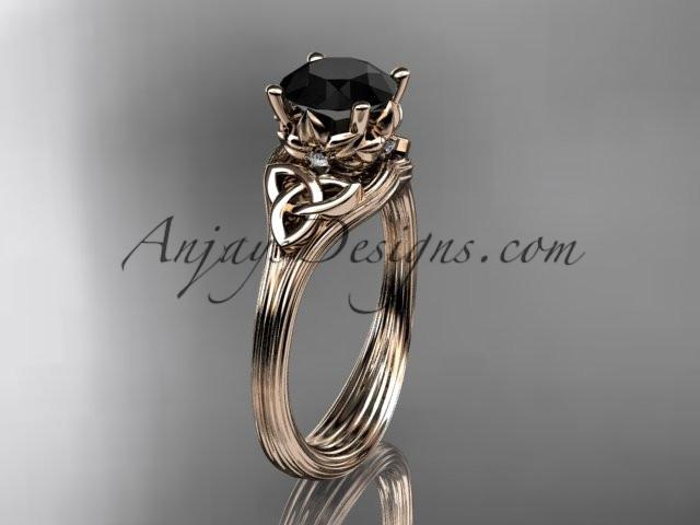 14kt rose gold diamond celtic trinity knot wedding ring, engagement ring with a Black Diamond center stone CT7240 - AnjaysDesigns