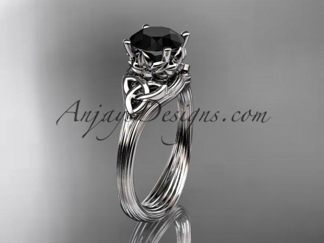 platinum diamond celtic trinity knot wedding ring, engagement ring with a Black Diamond center stone CT7240 - AnjaysDesigns