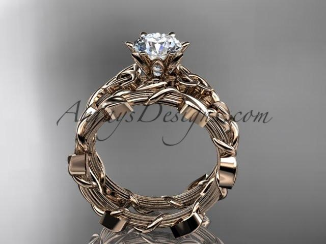 "14kt rose gold diamond celtic trinity knot wedding ring, engagement ring with a ""Forever One"" Moissanite center stone CT7248S - AnjaysDesigns"