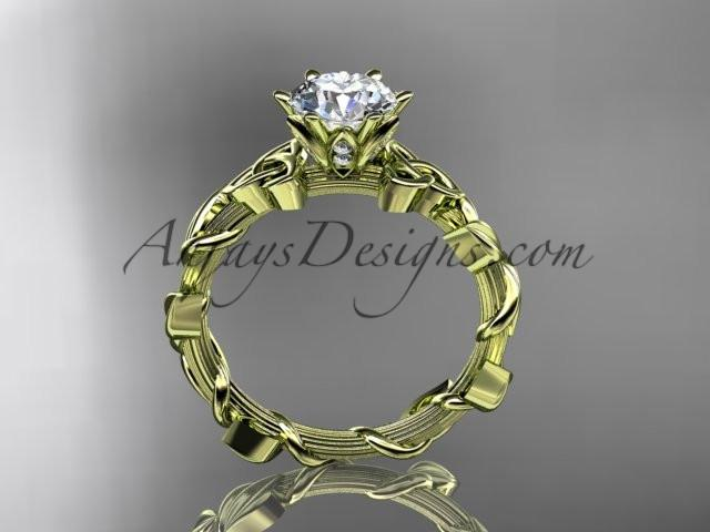 "14kt yellow gold diamond celtic trinity knot wedding ring, engagement ring with a ""Forever One"" Moissanite center stone CT7248 - AnjaysDesigns"