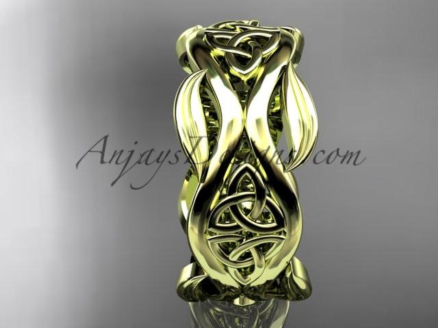 14kt yellow gold celtic trinity knot wedding band, engagement ring CT7264G - AnjaysDesigns