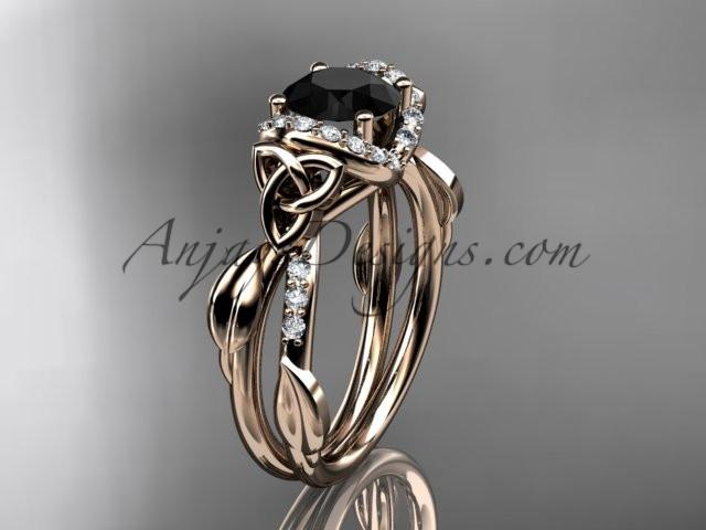 14kt rose gold diamond celtic trinity knot wedding ring, engagement ring with a Black Diamond center stone CT7274 - AnjaysDesigns