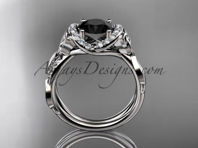 platinum diamond celtic trinity knot wedding ring, engagement ring with a Black Diamond center stone CT7274 - AnjaysDesigns