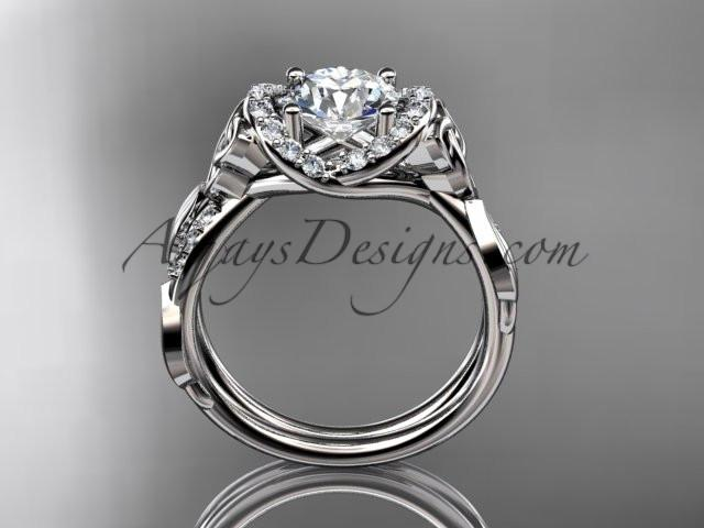 "14kt white gold diamond celtic trinity knot wedding ring, engagement ring with a ""Forever One"" Moissanite center stone CT7274 - AnjaysDesigns"