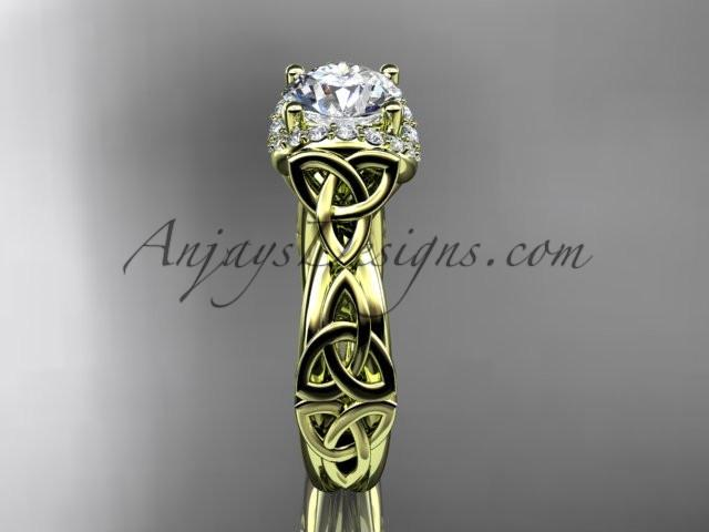 "14kt yellow gold diamond celtic trinity knot wedding ring, engagement ring with a ""Forever One"" Moissanite center stone CT7289 - AnjaysDesigns"