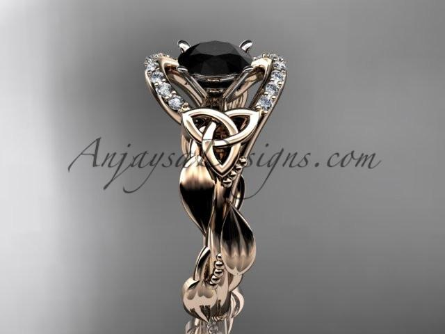 14kt rose gold diamond celtic trinity knot wedding ring, engagement ring with a Black Diamond center stone CT7326 - AnjaysDesigns