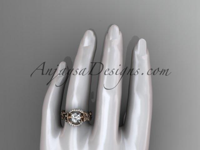"14kt rose gold diamond celtic trinity knot wedding ring, engagement ring with a ""Forever One"" Moissanite center stone CT7326 - AnjaysDesigns"