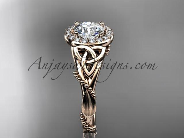 14kt rose gold diamond celtic trinity knot wedding ring, engagement ring CT7328 - AnjaysDesigns