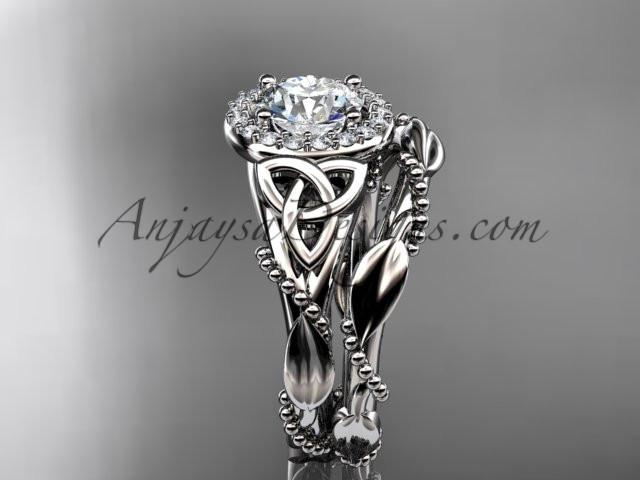 "14kt white gold diamond celtic trinity knot wedding ring, engagement set with a ""Forever One"" Moissanite center stone CT7328S - AnjaysDesigns"