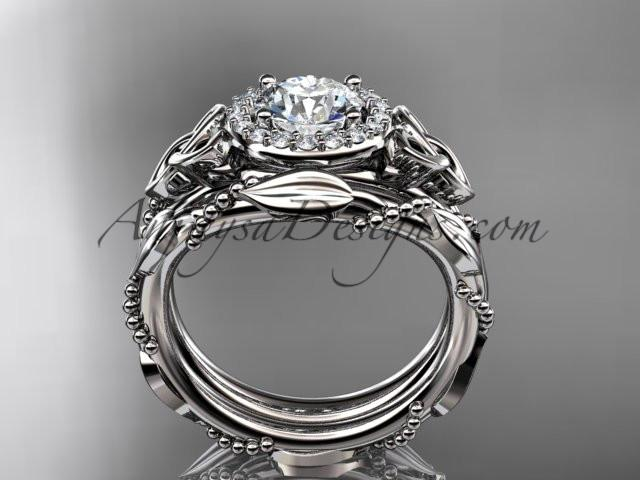 "platinum diamond celtic trinity knot wedding ring, engagement set with a ""Forever One"" Moissanite center stone CT7328S - AnjaysDesigns"