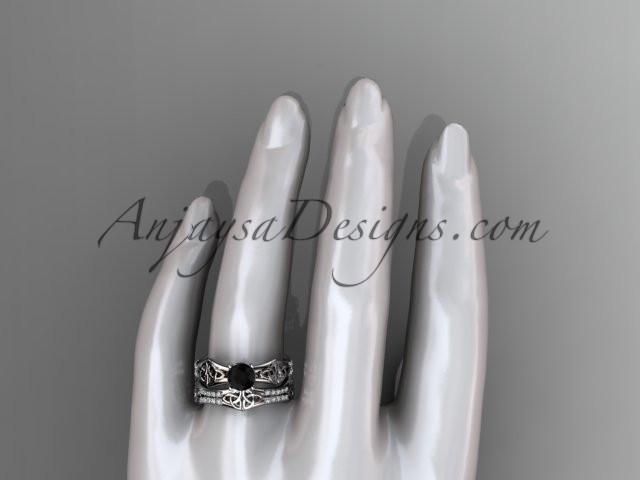 14kt white gold diamond celtic trinity ring, triquetra ring, engagement set with a Black Diamond center stone CT7353S - AnjaysDesigns