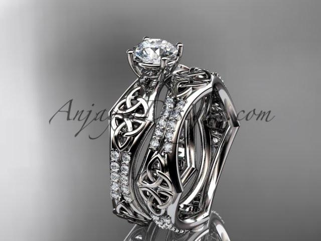 "platinum diamond celtic trinity ring, triquetra ring, engagement set with a ""Forever One"" Moissanite center stone CT7353S - AnjaysDesigns"