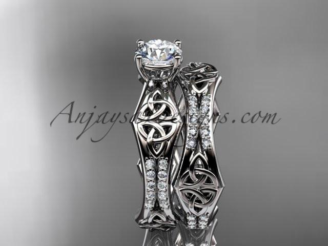 "14kt white gold diamond celtic trinity ring, triquetra ring, engagement set with a ""Forever One"" Moissanite center stone CT7353S - AnjaysDesigns"