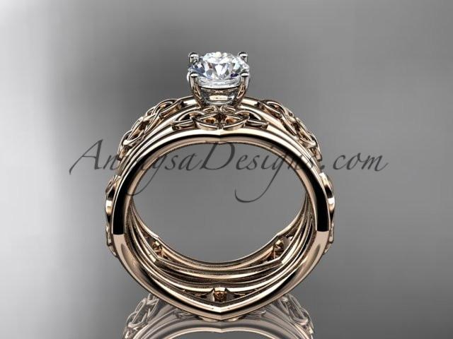 "14kt rose gold celtic trinity ring, triquetra ring, engagement set with a ""Forever One"" Moissanite center stone CT7356S - AnjaysDesigns"