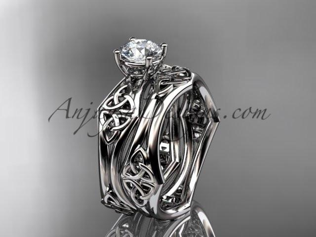 "platinum celtic trinity ring, triquetra ring, engagement set with a ""Forever One"" Moissanite center stone CT7356S - AnjaysDesigns"