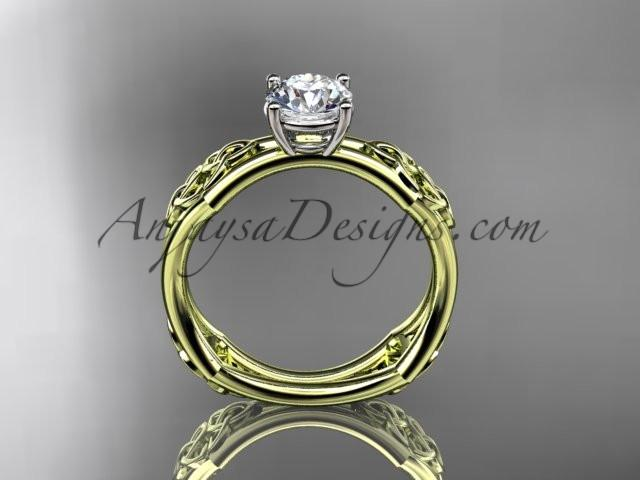 "14kt yellow gold celtic trinity ring, triquetra ring, engagement ring with a ""Forever One"" Moissanite center stone CT7356 - AnjaysDesigns"