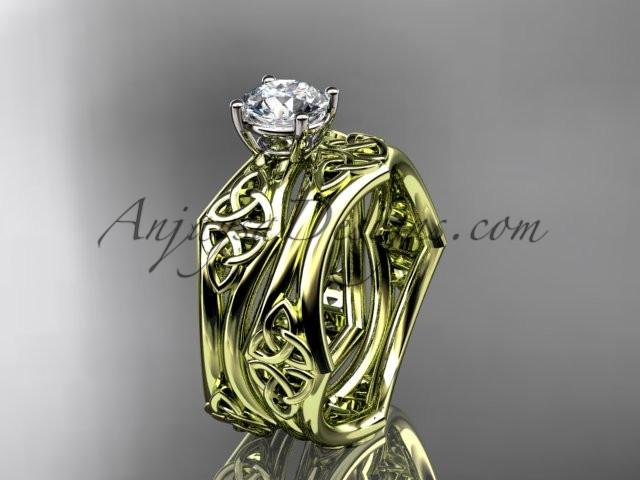 "14kt yellow gold celtic trinity ring, triquetra ring, engagement set with a ""Forever One"" Moissanite center stone CT7356S - AnjaysDesigns"