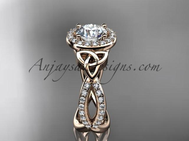 14kt rose gold diamond celtic trinity ring, triquetra ring, Irish engagement ring CT7374 - AnjaysDesigns