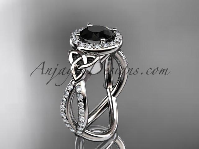 platinum diamond celtic trinity ring, triquetra ring, Irish engagement ring with a Black Diamond center stone CT7374 - AnjaysDesigns
