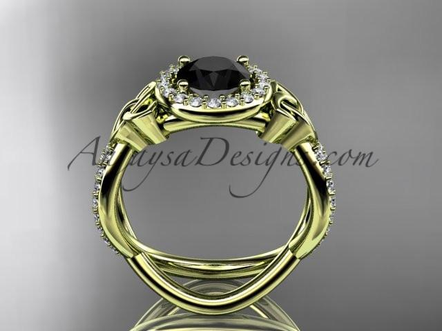 14kt yellow gold diamond celtic trinity ring, triquetra ring, Irish engagement ring with a Black Diamond center stone CT7374 - AnjaysDesigns