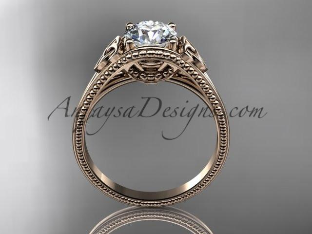 "14kt rose gold celtic trinity knot wedding ring, engagement ring with a ""Forever One"" Moissanite center stone CT7375 - AnjaysDesigns"