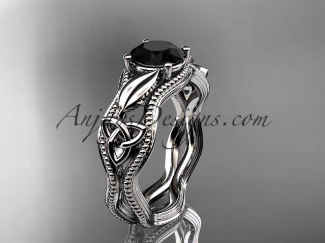 platinum diamond celtic trinity knot wedding ring, engagement ring with a Black Diamonde center stone CT7382 - AnjaysDesigns