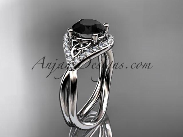 platinum diamond celtic trinity knot wedding ring, engagement ring with a Black Diamond center stone CT7390 - AnjaysDesigns